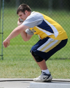 OTTAWA, ON. May 30, 2008 � Derek Morris of Napanee District High School winds up before the senior boys shot put event at the 2008 OFSAA East Regional Track and Field Championships. It took place at the Terry Fox Athletic Facility in Mooney\'s Bay Park in Ottawa.